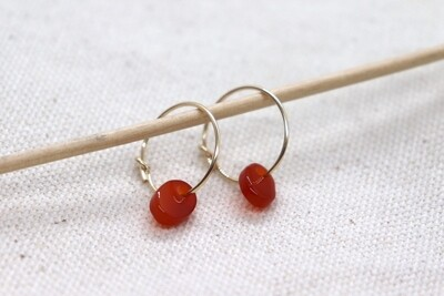 URBAN SWAG   Golden Mini Hoops with Burnt Red Agate Stone