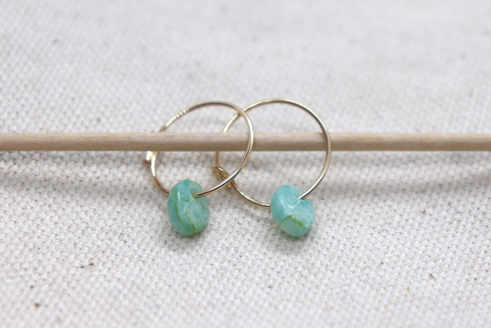 URBAN SWAG | Golden Mini Hoops with Amazonite Stone (gold-plated 925 silver hoops)
