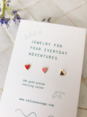 Selva Sauvage | Golden Earstuds Triple Hearts - 14k Gold Plated Sterling Silver (set of 3)