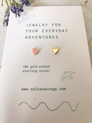 Selva Sauvage | Golden Earstuds Pink & Gold Hearts - 14k Gold Plated Sterling Silver (set of two)