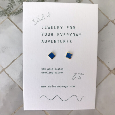 Selva Sauvage | Golden Earstuds Royal Blue Squares - 14k Gold Plated Sterling Silver (a pair or a single)