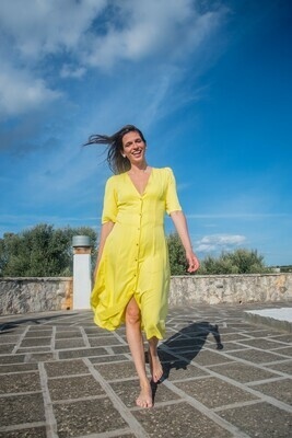 Olá Lindeza | MADRID Lemon dress - Viscose