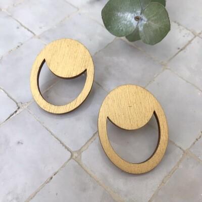 B'elle | Golden Eclipse Wooden Earrings
