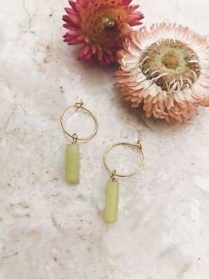 Isa & Roza | Golden Mini Hoops with lime green stones