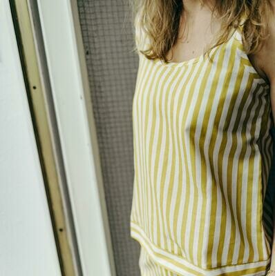 Olá Lindeza | Top yellow/white - cotton & linen