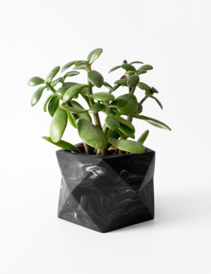 Palua Marble Plant Pot Large - Black marble (plant not included)