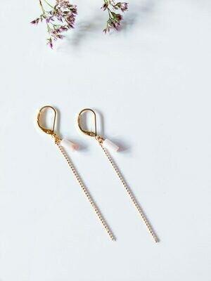 Isa & Roza | Golden Ear Hangers with little pink stone