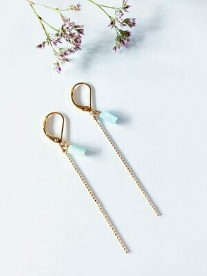 Isa & Roza | Golden Ear Hangers with little blue stones