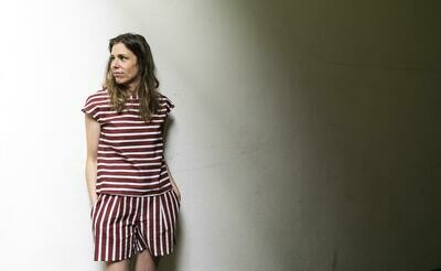 Olá Lindeza | Striped shirt cotton linen - maroon/white