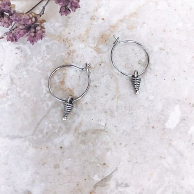 Isa & Roza | Silver Mini Hoops with Cone