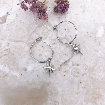 Isa & Roza | Silver Mini Hoops with Nordic Star