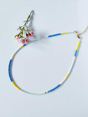 Isa & Roza | Pearls Necklace - Blue & yellow