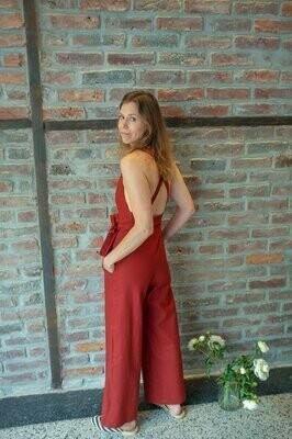Olá Lindeza | Linen Jumpsuit - Maroon