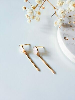 Isa & Roza | Soft Pink Stone Golden Earrings