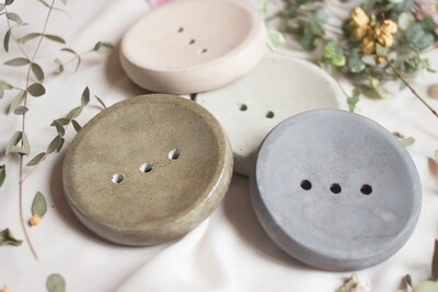 Soap Tray Round - made of fine concrete (available in different colors)