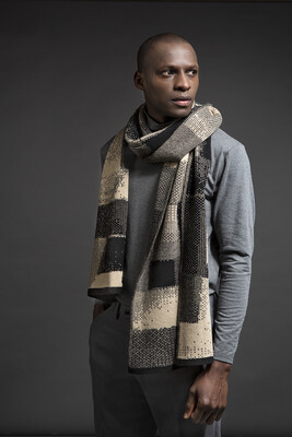 Wolvis | Knitted Scarf Merino Wool - anthracite & nude