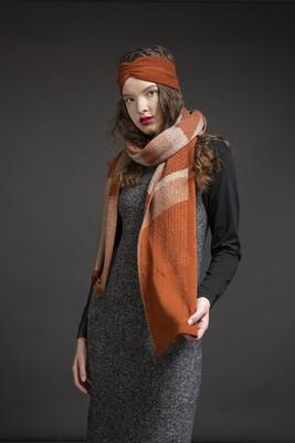 Wolvis | Knitted Scarf Merino Wool - Cognac & Gray