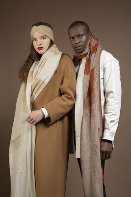 Wolvis | Knitted Scarf Merino Wool - nude & papyrus white