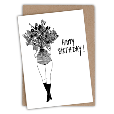 helenb | Greeting card with envelope - flower girl happy birthday