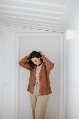 Näz | Wool Cardigan - Burnt orange (one size) - one left