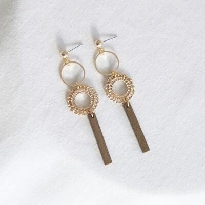 Studio Nok Nok | Golden Earrings with Wooden Pendant