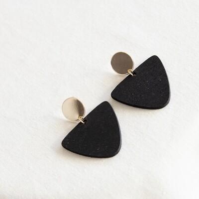 Studio Nok Nok | Black Wooden Earrings with Golden Stud
