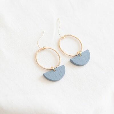 Studio Nok Nok | Golden Circle Earrings with Soft Blue Wooden Half Moon