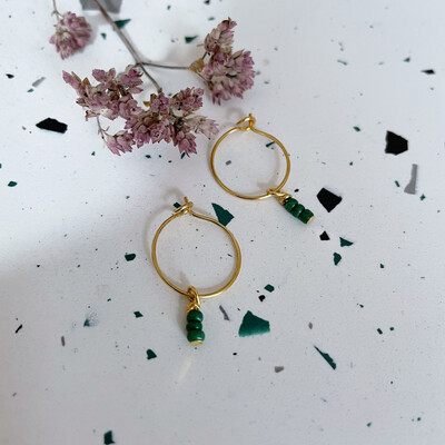Isa & Roza | Golden Mini Hoops with Green Pearls