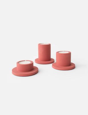 House Raccoon | Portia Tealight Holders (a set of 3) - Pomegranate