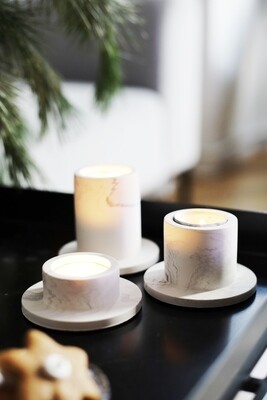 House Raccoon | Portia Tealight Holders (a set of 3) - White Marble