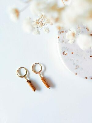 Isa & Roza | Golden Mini Hoops with Speckled Caramel Stone