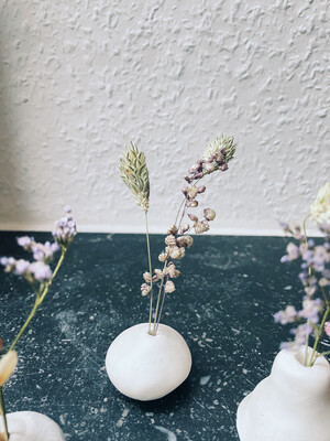het Kollektief | Round Clay Vase with Dried Flowers - white clay
