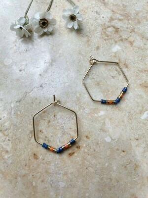 Olá Lindeza  | Hexagon hoops with little pearls - orange blue copper
