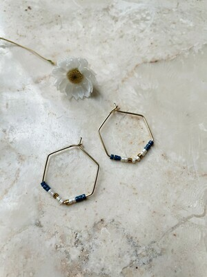 Olá Lindeza  | Hexagon hoops with little pearls - blue ivory copper