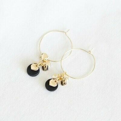 Studio Nok Nok | Golden Hoops with black wooden and golden flower pendant