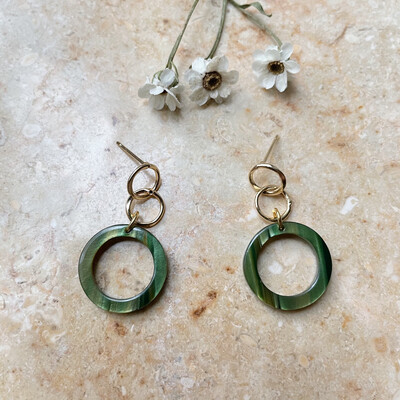 Olá Lindeza  | Forest green golden bubble earrings