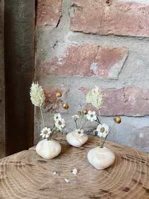 het Kollektief | Clay Vase with Dried Flowers - white and brown clay