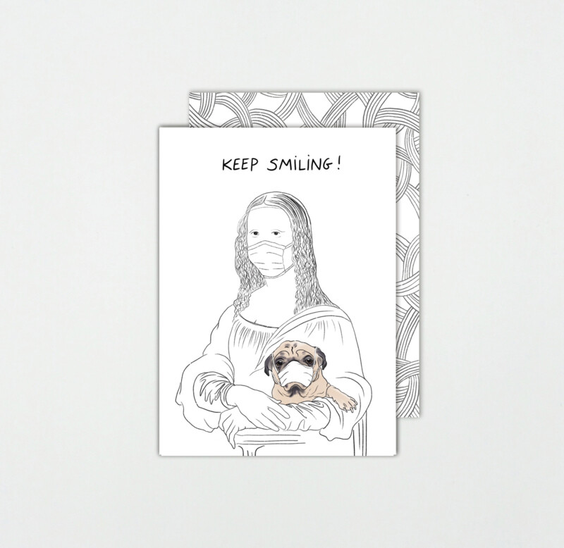 SOMAJ   Mona Lisa - Keep Smiling Card with Art Envelop