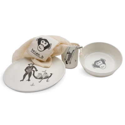 helenb | Bamboo Set - the monkey family (3 piece + fruit and vegetable bag)