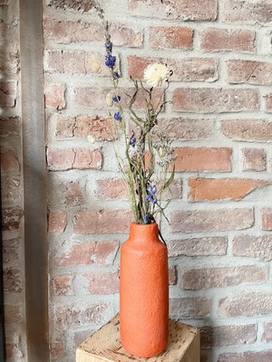 Kinta | Vase Pap Orange - 23cm and dried flowers