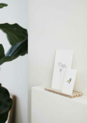 inkylines | Wooden Card Holder Birch 3 rows - 17 cm x 4 cm