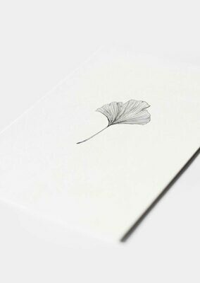 Inkylines | Ginkgo black - mini card or A6 (postcard) with or without wooden frame