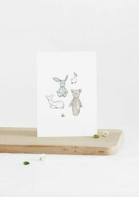 Inkylines | Cuddly Animals - A6 (postcard) with or without wooden frame