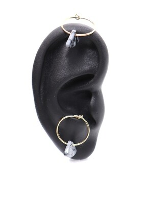 URBAN SWAG | Golden mini hoops with natural snowflake obsidian stone