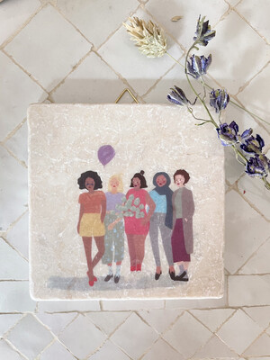 evimstore | Printed Natural Stone Tile - Women with Balloon
