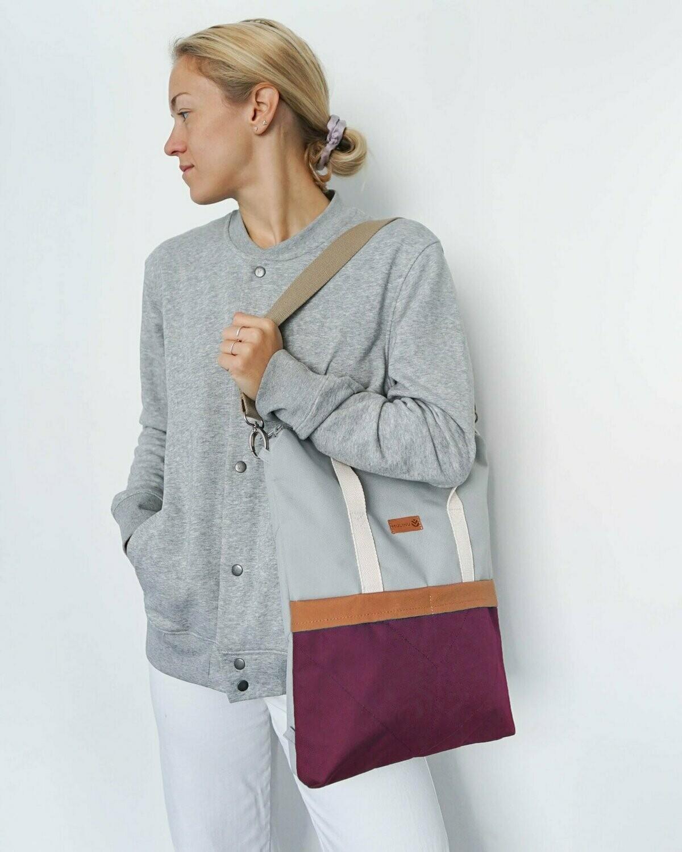 MULINU | Backpack GRETA light grey bordeaux