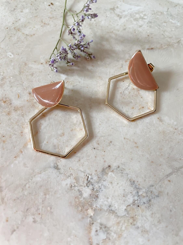 Isa & Roza   Marsala stud with golden hexagon hoops
