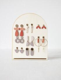 Studio Nok Nok | Pastel mauve wooden ear studs