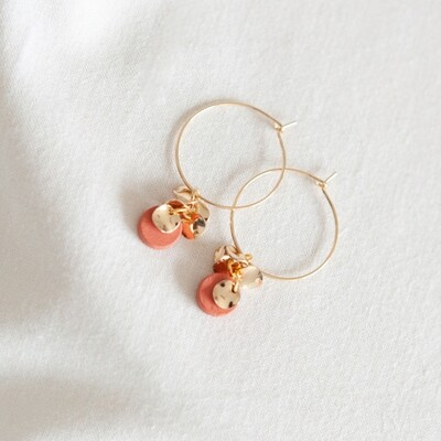 Studio Nok Nok | Golden Hoops with coral red wooden and golden flower pendant