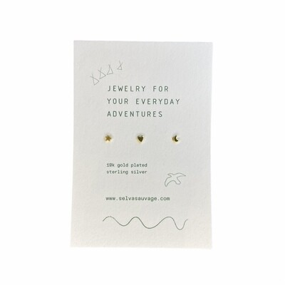 Selva Sauvage | Set of 3 mini ear studs - a heart star and moon - 14k Gold Plated Sterling Silver